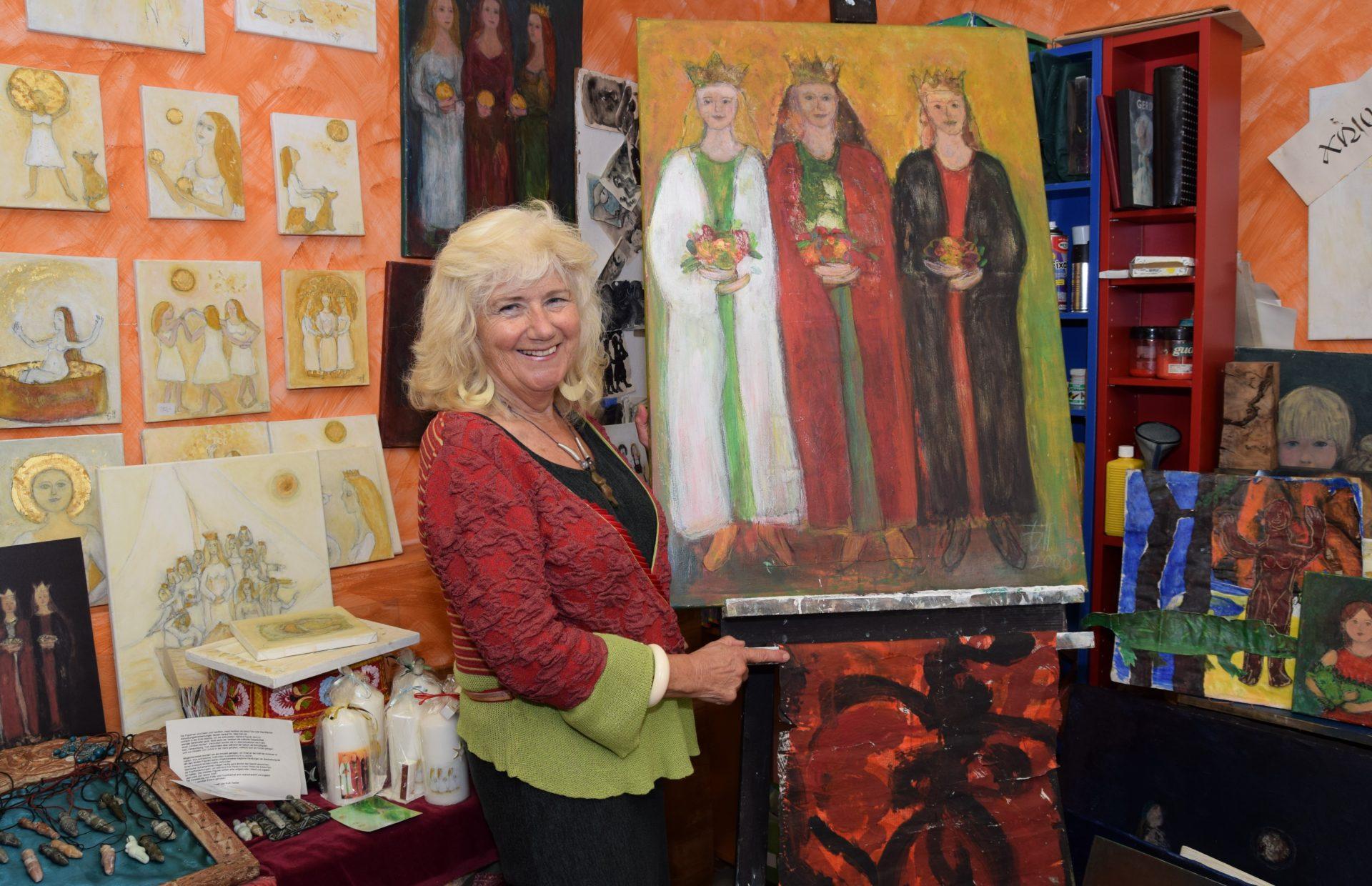 Gerda Slanina - Malerin im Cafe Miteinander